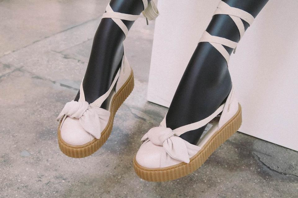 8c21df9f66f FENTY PUMA by Rihanna Blush Pink Cream Leather Ballet Lace-up Bow Creepers  Sandals Size US 8.5 Regular (M, B)