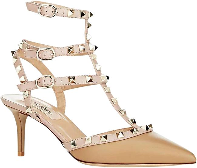 Item - Tan/Mauve Blush Rockstud Caged 65 Mm Leather Pumps Size EU 38 (Approx. US 8) Regular (M, B)