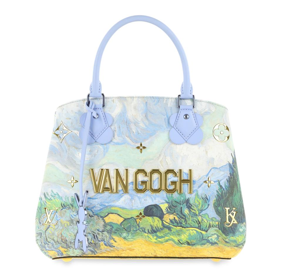 acadc5303aca Louis Vuitton Montaigne Jeff Koons A Wheatfield with Cypresses Mm Blue  Coated Canvas Tote