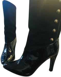 822836f60427 Coach Black Patent Leather and Suede Boots Booties Size US 10 ...