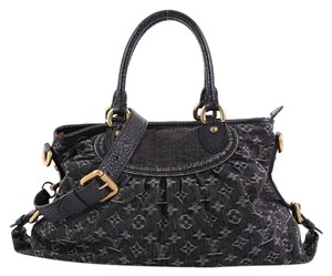 Louis Vuitton Handbag Denim Satchel in black