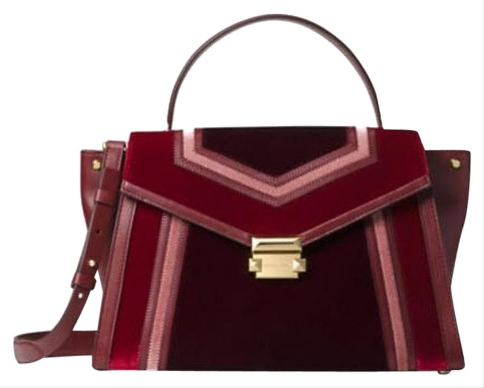 Michael Kors Whitney Large Shoulder Red Maroon Leather Satchel - Tradesy 803b14ad105