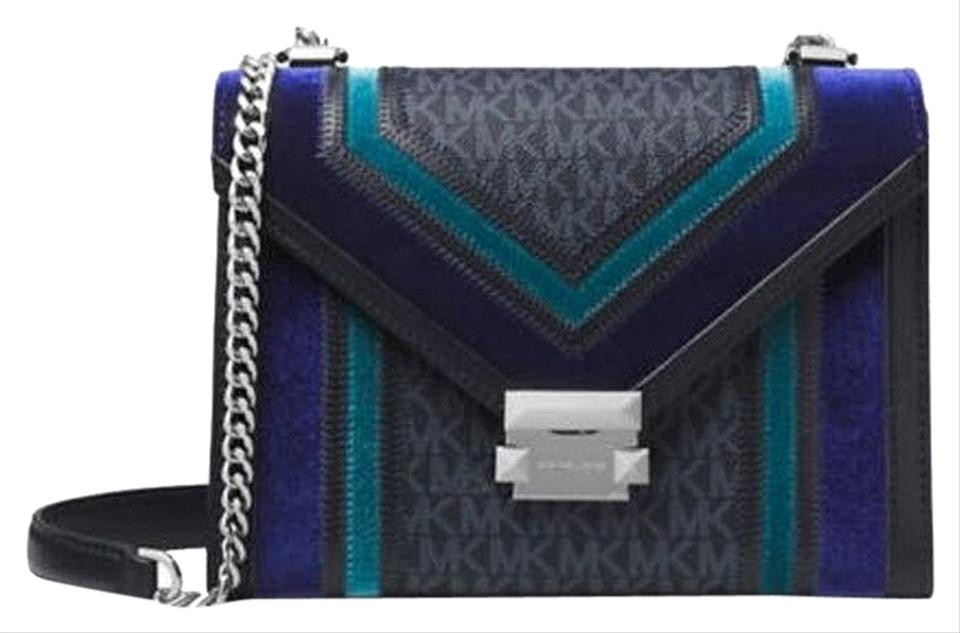 4a77c03d19ff Michael Kors Leather Black 192317314410 Satchel in multicolor Admiral Teal  Silver Image 0 ...