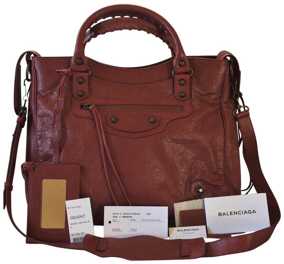 taille 40 86f8d 40f4e Balenciaga Velo Rouge Cerise Red Leather Satchel