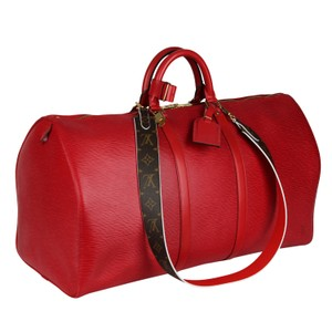 Louis Vuitton Keepall Speedy Leather Vintage Leather Red Travel Bag