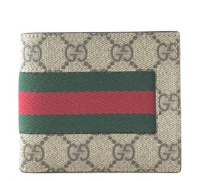 Gucci GG Guccisima canvas and red green stripe bifold Wallet