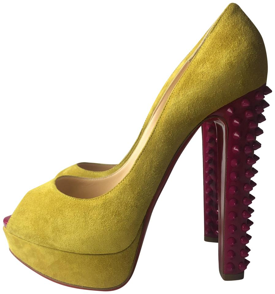 7f8879736bf5 Christian Louboutin Yellow Taclou 140 Spikes Suede Patent Platform Pumps