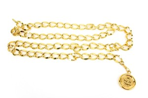 """Chanel Metal Chain """"CC"""" Medallion - Adjustable: fits up to 35"""" (mz)"""