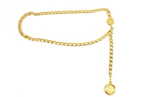 "Chanel Metal Chain ""CC"" Medallion - fits up to 34"" (my) Necklace/"