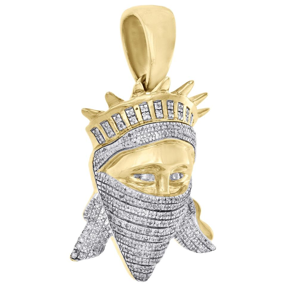 Jewelry For Less 10k Yellow Gold White Diamond Mens Statue Of