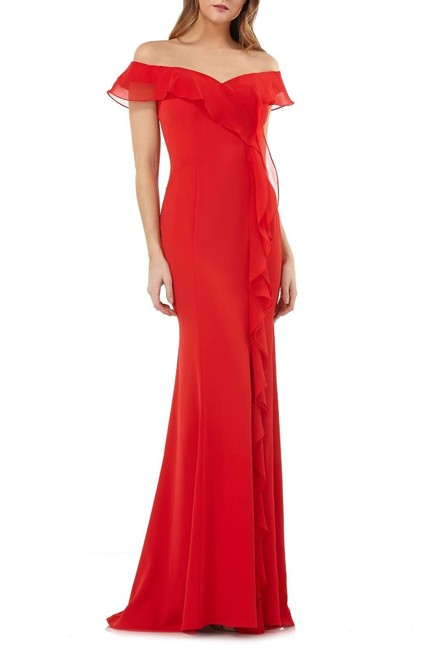 Item - Red Infusion Off-the-shoulder Cascading Ruffle Gown Long Formal Dress Size 4 (S)