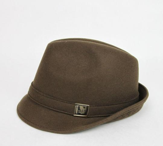 Gucci New Brown Wool Fedora Hat w/Light Gold Plaque Logo Size L 322289 2366 Image 1