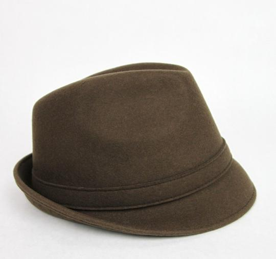 Gucci New Brown Wool Fedora Hat w/Light Gold Plaque Logo Size L 322289 2366 Image 2
