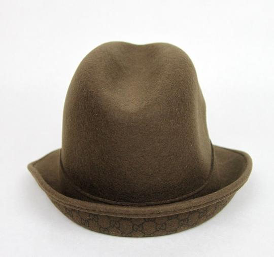 Gucci New Brown Wool Fedora Hat w/Light Gold Plaque Logo Size L 322289 2366 Image 3