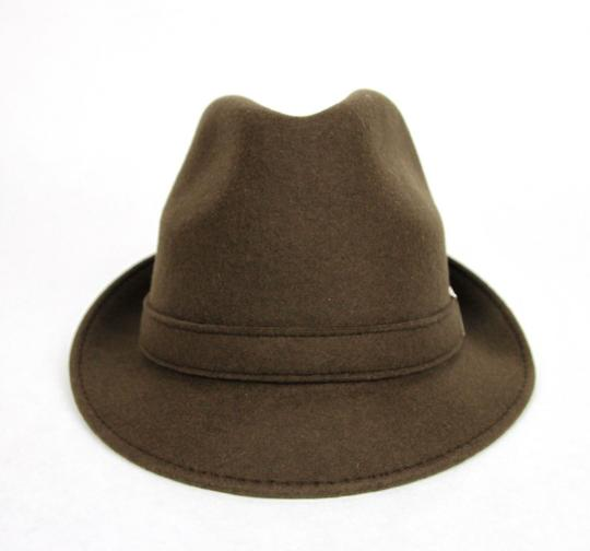 Gucci New Brown Wool Fedora Hat w/Light Gold Plaque Logo Size L 322289 2366 Image 4
