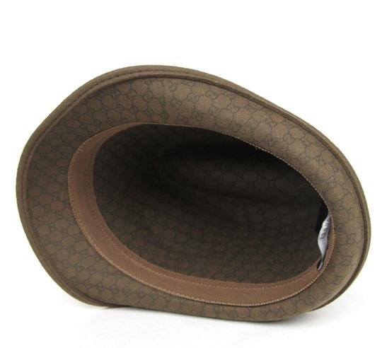 Gucci New Brown Wool Fedora Hat w/Light Gold Plaque Logo Size L 322289 2366 Image 5