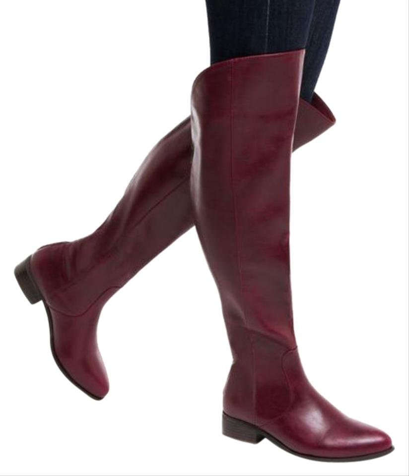 9273b906a0c0 ShoeDazzle Wine Lailya Over The Knee Boots Booties Size US 7 Regular ...