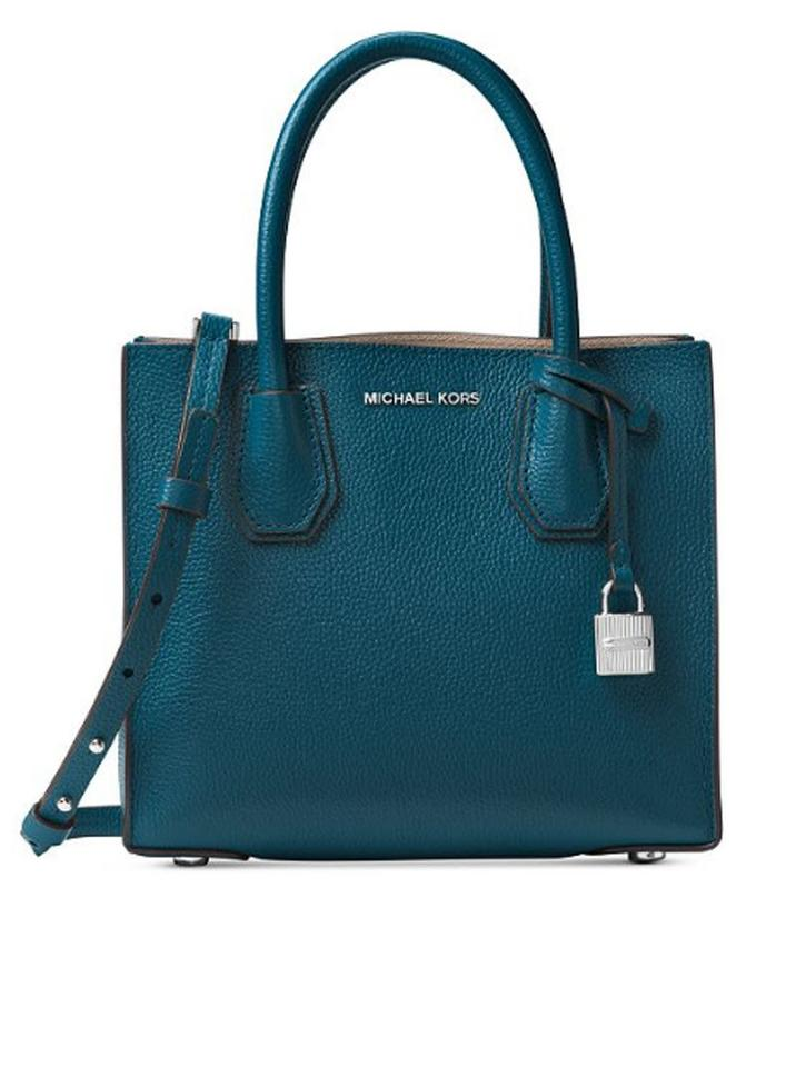 828e675caff2 Michael Kors Mercer Medium Crossbody Blue Green Luxe Teal Leather ...