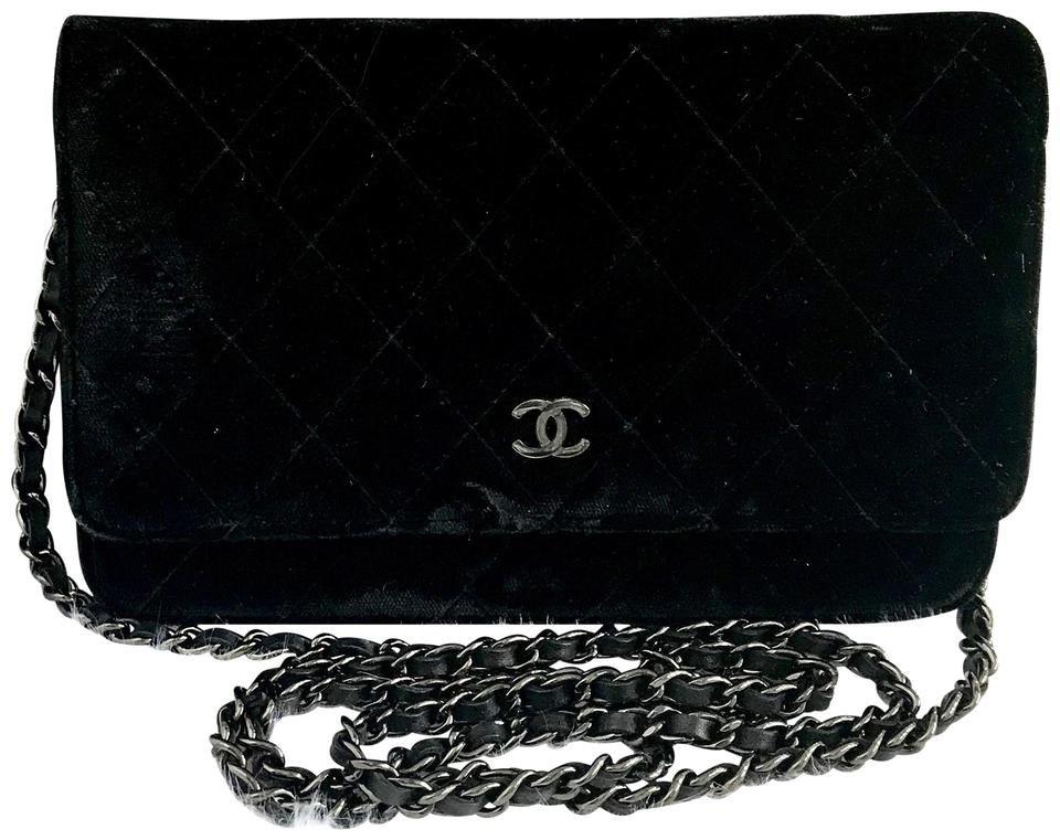 9107355e3934b5 Chanel Chain Wallet on Full Set Woc Black Velvet Shoulder Bag - Tradesy