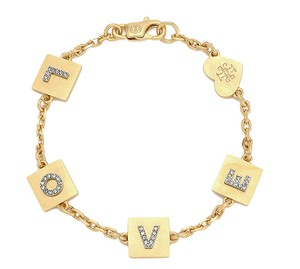 Tory Burch Gold Love Message Delicate Chain Bracelet