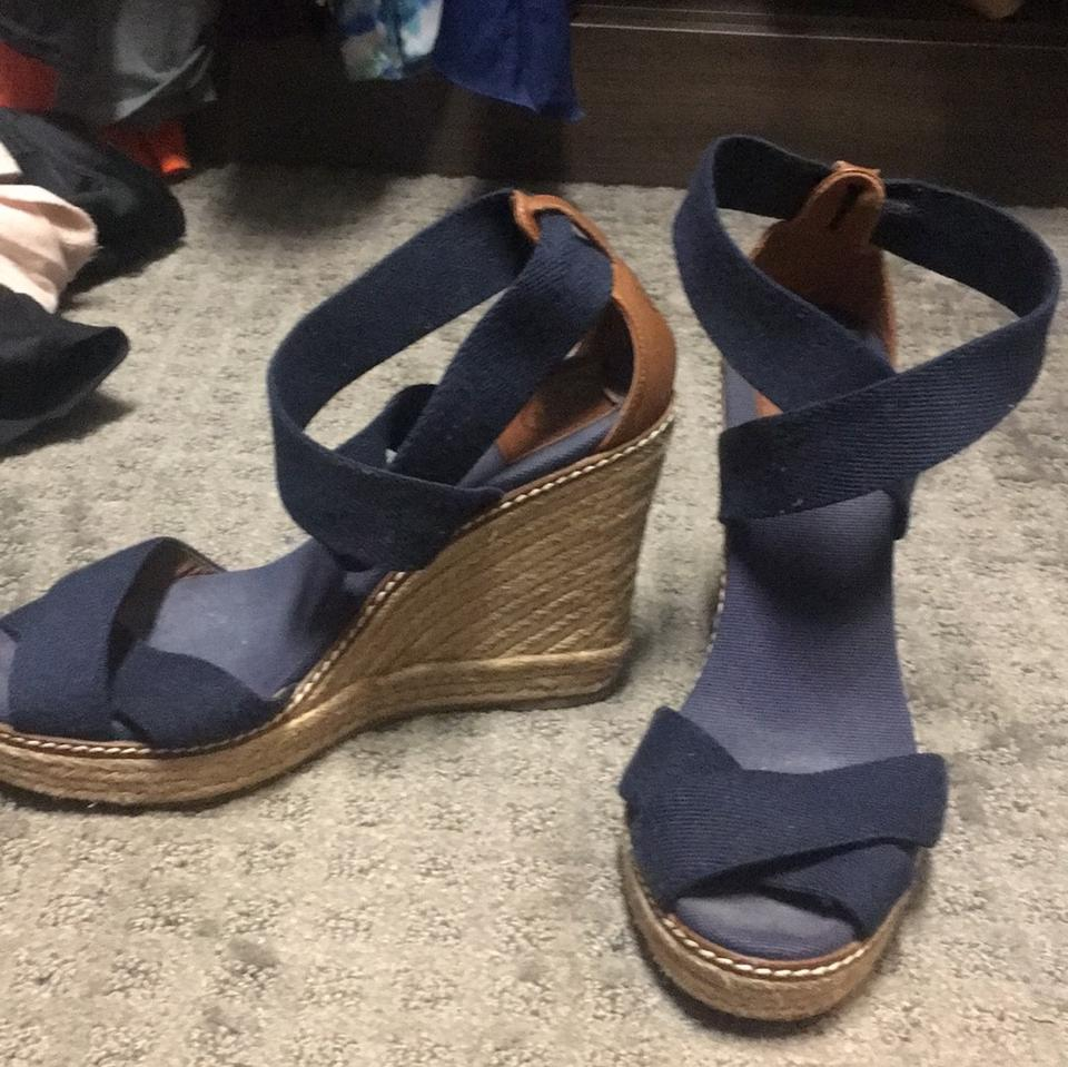 a975adf6b Tory Burch Navy Blue Sandal Wedges Size US 8 Regular (M