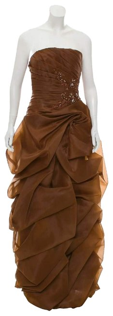 Item - Brown Ruffled Strapless Gown Long Formal Dress Size 8 (M)
