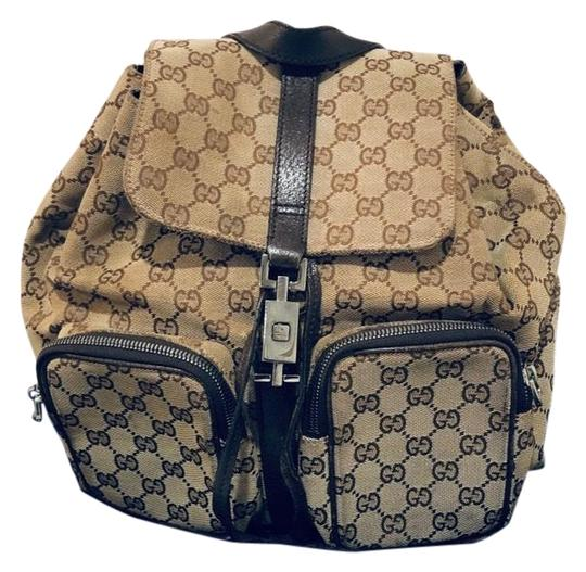 14e97f22f8060b Gucci Monogram Brown Canvas and Leather Backpack - Tradesy