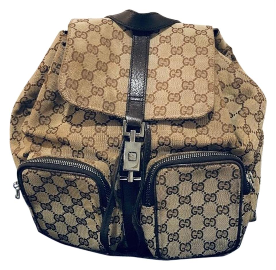 23f631fc97f1af Gucci Monogram Brown Canvas and Leather Backpack - Tradesy