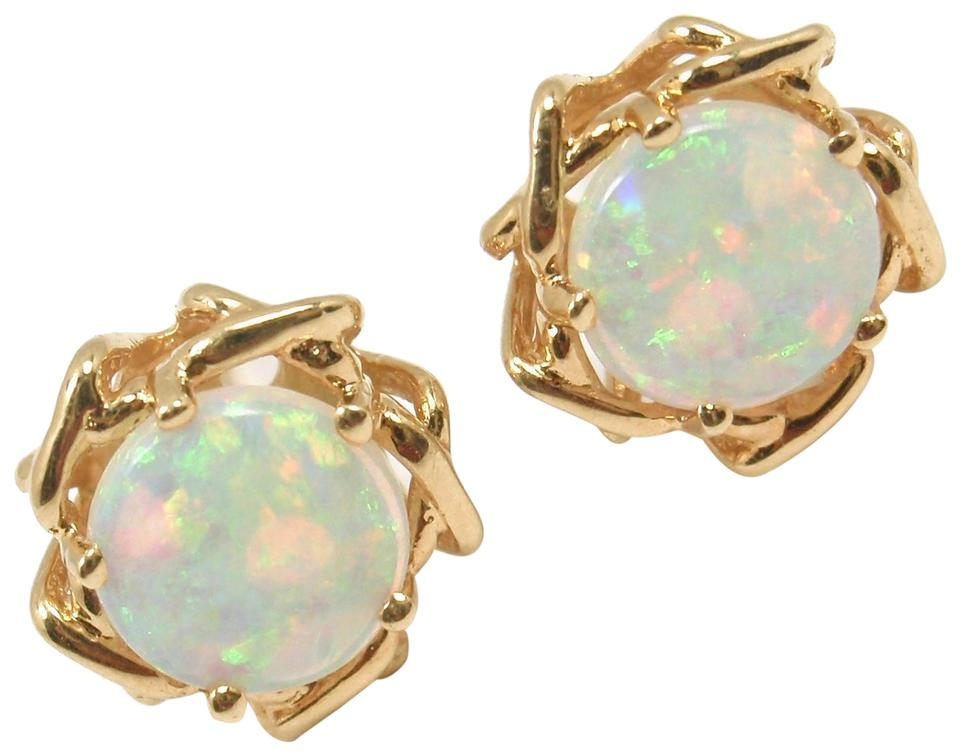 Tiffany Co Vintage 18k Yellow Gold Opal Stud Earrings