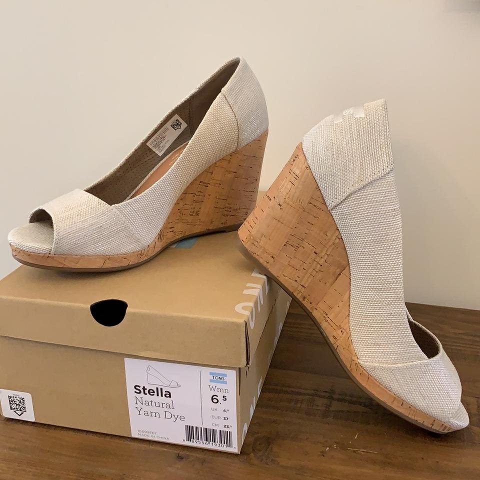 041be790929 TOMS Natural Yarn Dye Women s Stella Peep-toe Wedges Size US 6.5 ...