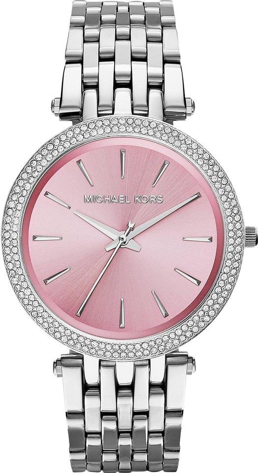 62acec6ad058 Michael Kors Silver Stainless Pink Crystal Dial Darcy Mk3352 Watch ...