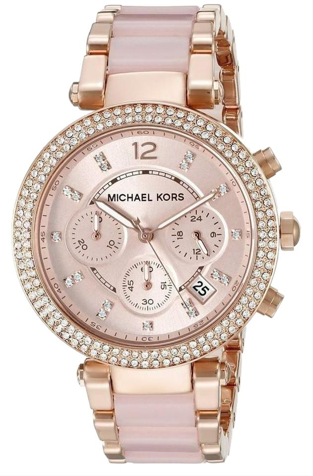 f3d1f2e7c203 Michael Kors Rose Gold Parker Stainless Pink Acetate Chronograph Mk5896  Watch