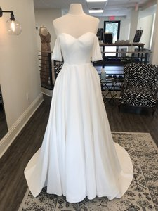 Stella York Ivory Dove Satin 6718 Formal Wedding Dress Size 8 (M)