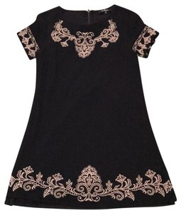 Lulu*s short dress Black with off white embroidery on Tradesy