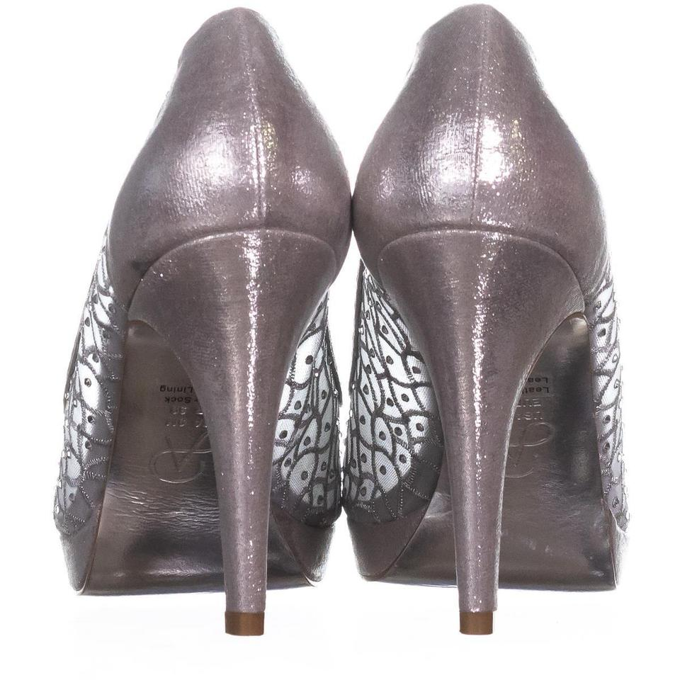 f2c7d12c226 Adrianna Papell Silver Foxy Peep Toe Dress 642 Sterling Pumps Size ...