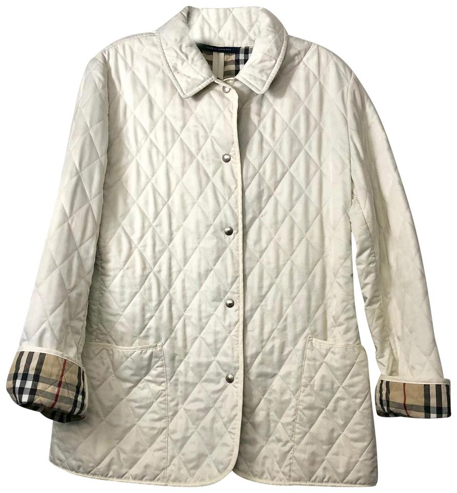 Burberry London Ivory M Quilted Barn Coat Nova Check