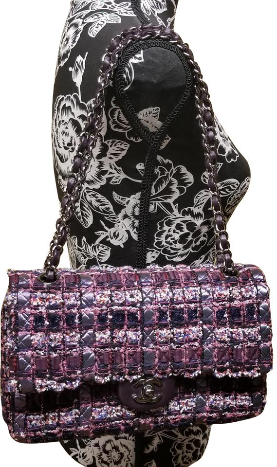 Chanel Classic Purple Multicolored Tweed and Leather Shoulder Bag ... 4cc5a2f581086