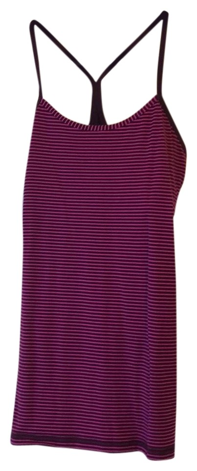 6b030d50295339 Lululemon Pink and Maroon Burgundy Stripes Tank Activewear Top. Size  6 ...