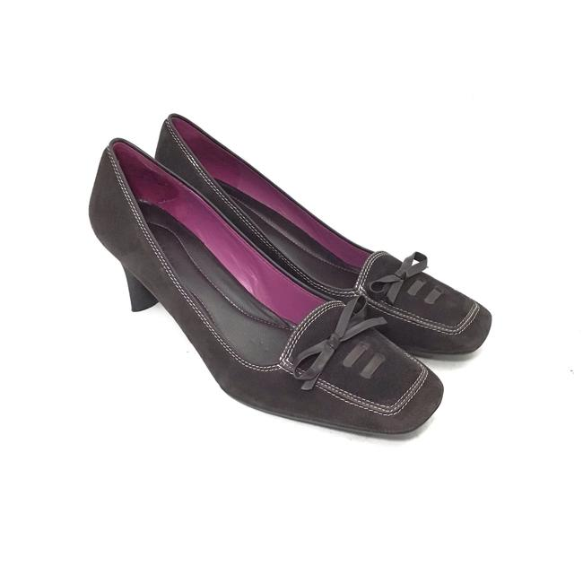 Item - Brown W Suede Loafer Heels W/ Leather Laces & Bows Pumps Size US 10 Regular (M, B)