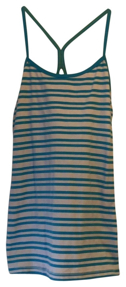 827940131dcd88 Lululemon Turquoise and White Tank Activewear Top Size 6 (S) - Tradesy