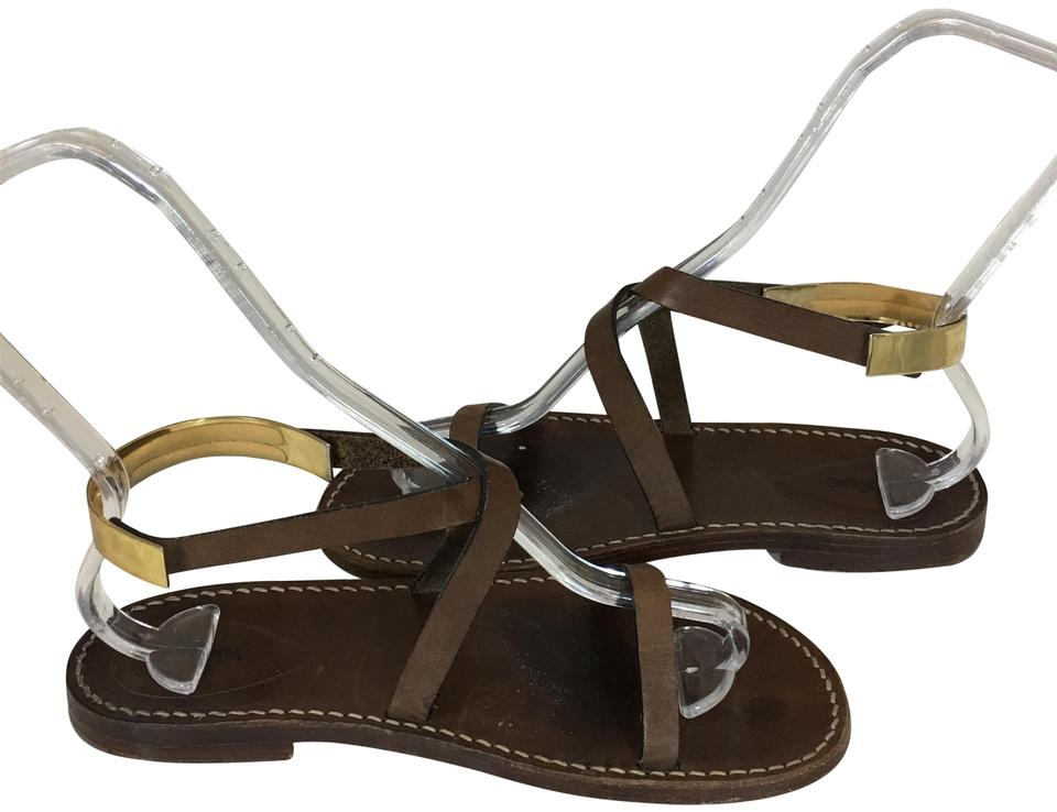 42ab2813034 Chloé Brown 36119 Leather Gladiator Metal Gold Plate Strappy Sandals ...