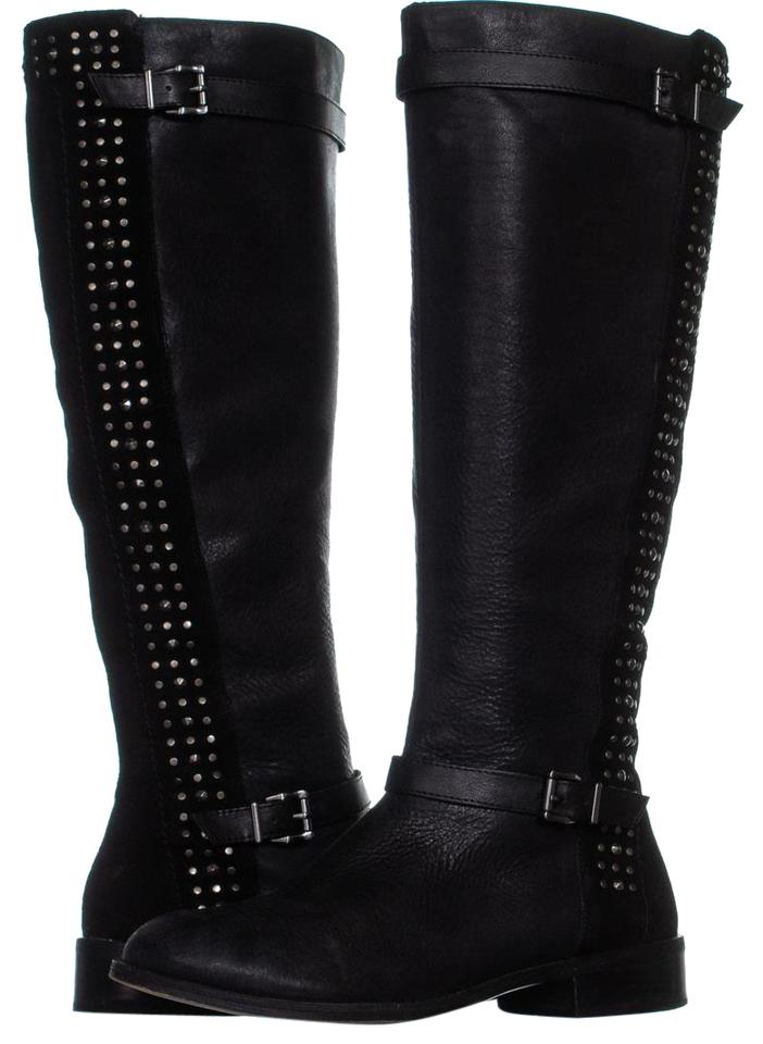 554f70a20 Jessica Simpson Black Ellister Studded Flat Riding Boots/Booties ...