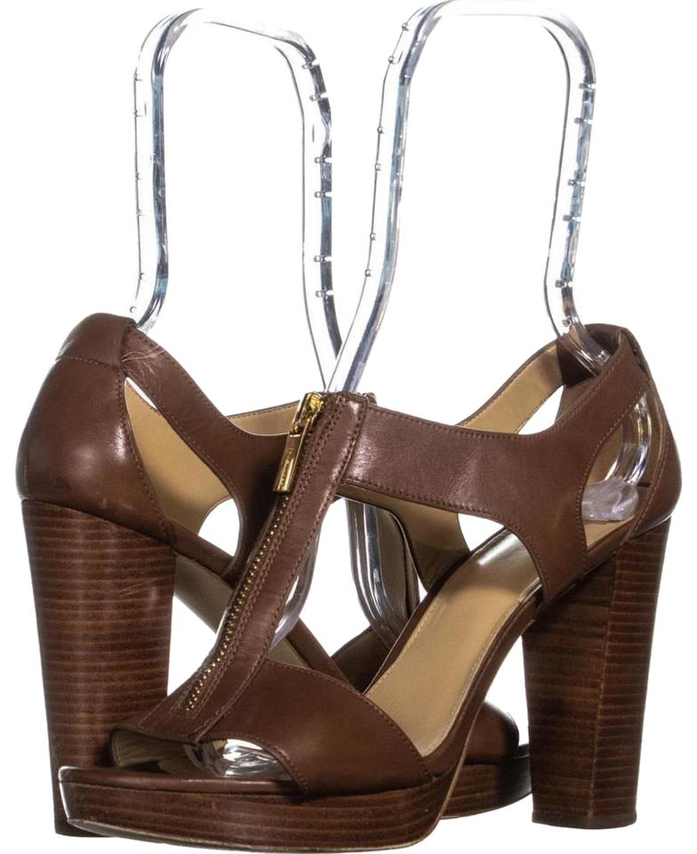 19933daa875 Michael Kors Brown Berkley Zipper Front Heeled 404 Luggage Sandals ...