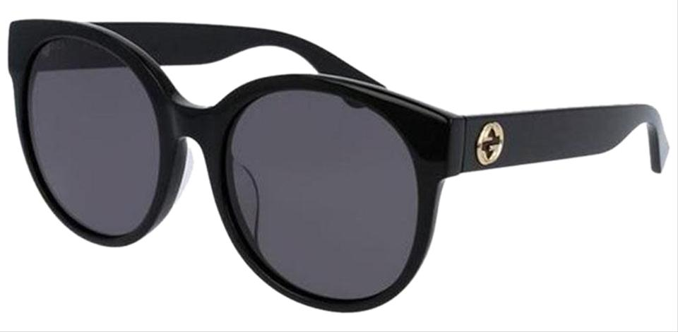 7b0d1709832 Gucci Black Frame   Grey Lens Women Round Sunglasses - Tradesy