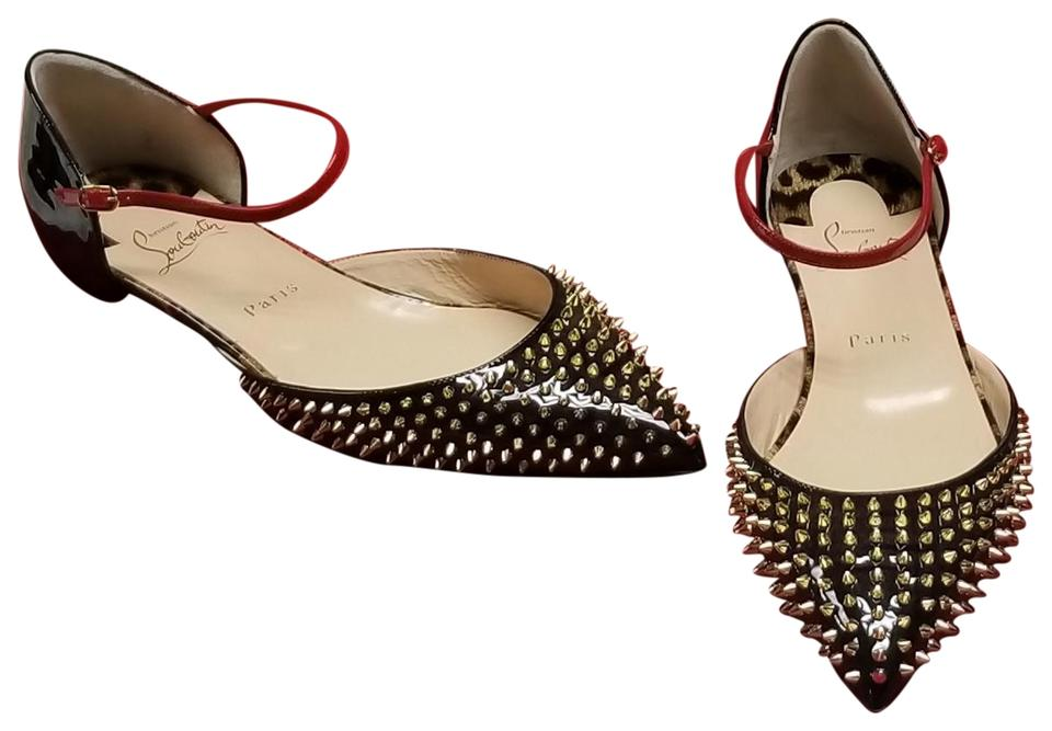 f7aa850624b Christian Louboutin Black Red Gold Baila Spike Patent Leather Flats ...