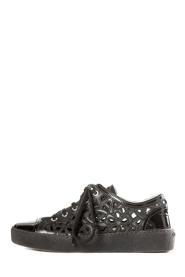 17534ae26e9b5 Chanel Black Cut Out Leather Sneakers Size EU 37.5 (Approx. US 7.5 ...