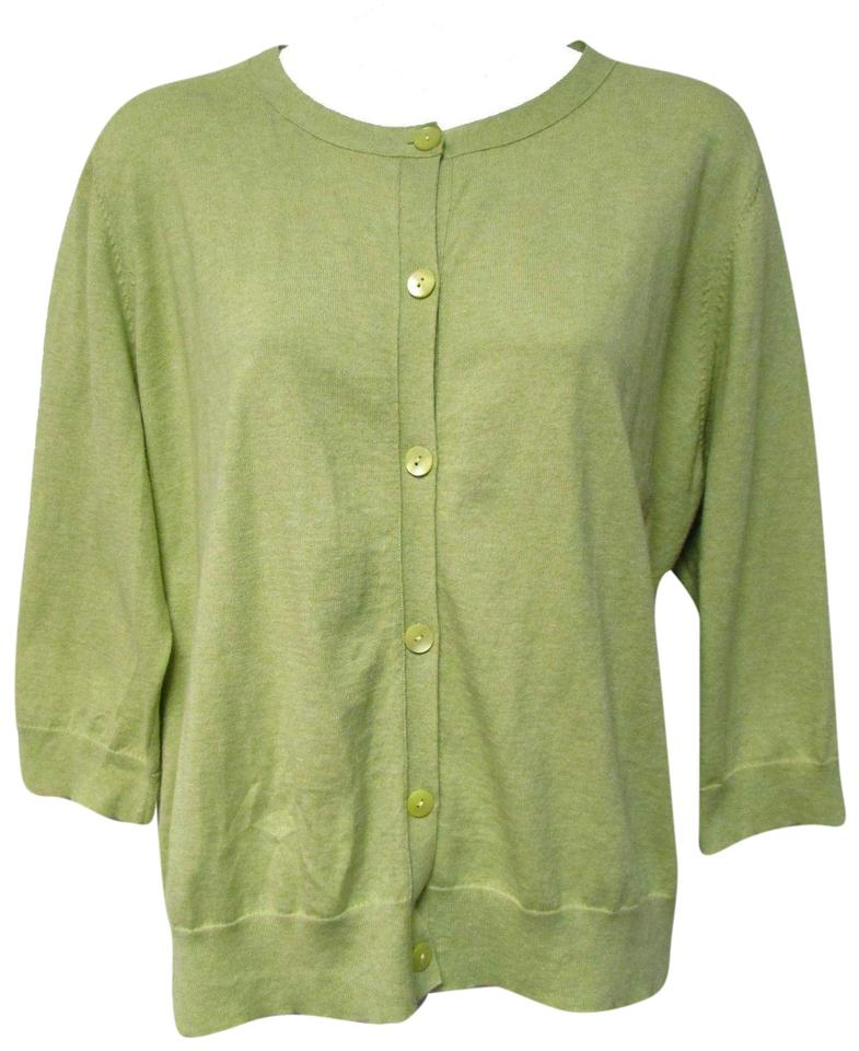 8684f57ece8c92 Eileen Fisher Lime Green Cotton Cashmere 3/4 Cardigan Size 16 (XL ...