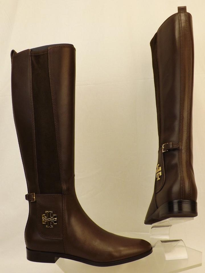87587f17852 Tory Burch Brown Wyatt Chocolate Leather Gold Reva Tall Elastic Riding Zip  Boots Booties