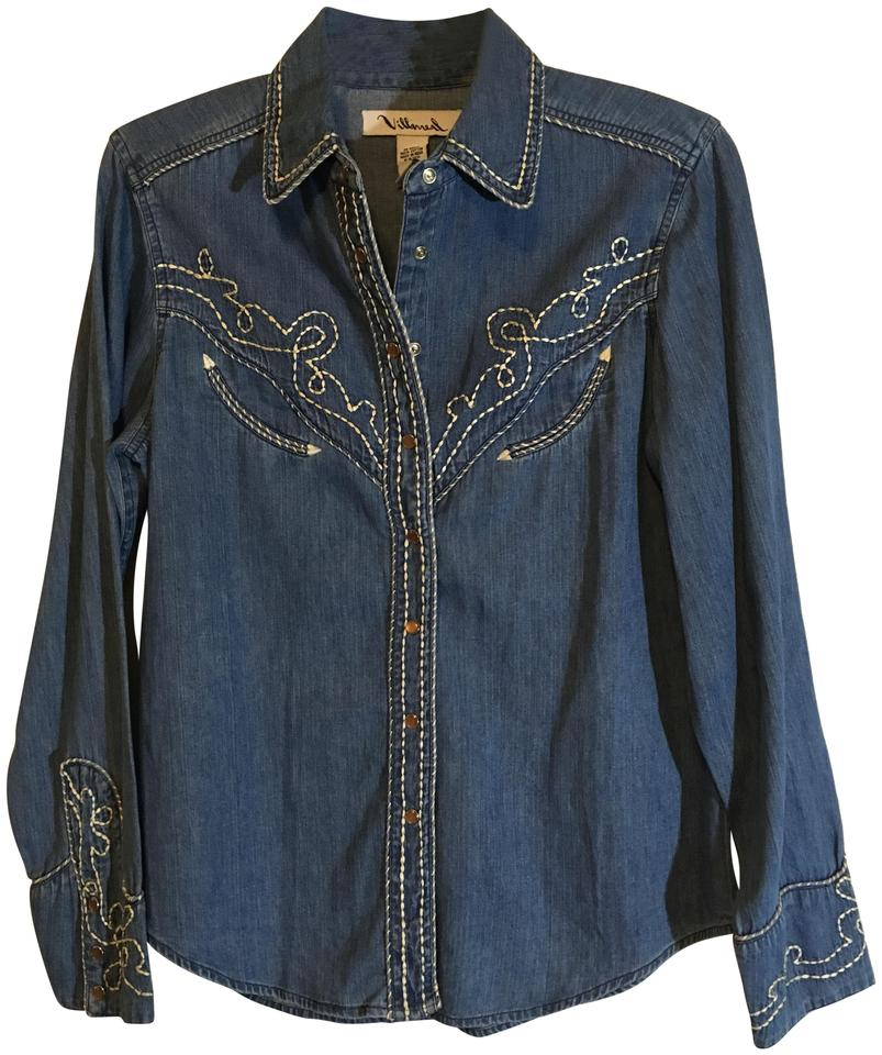 0aec8391c American Vintage Blue White Villarreal Chambray Embroidered Western Cowgirl  Horse Stitched Shirt Button-down Top
