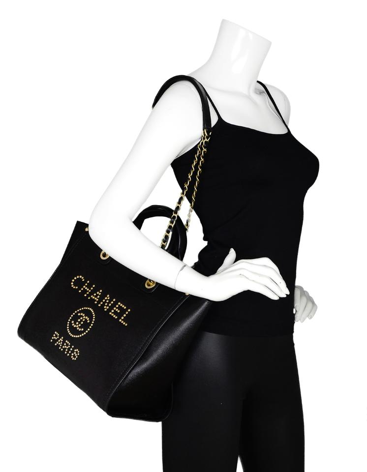 599f452d01f8 Chanel Deauville 2018 Caviar Studded Small Black Gold Leather Tote ...